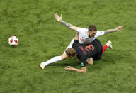 <p>Kieran Trippier duels for the ball with Ivan Strinic </p>