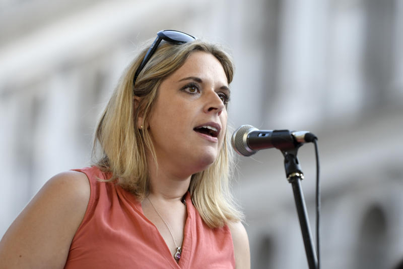 Laura Smith, MP, speaks at the anti Boris Johnson rally in London. Protesters gathered outside Downing Street to protest against the announcement of Tory Boris Johnson as a new UK Prime Minister, who was elected only by less than 150,000 members of the Conservative party, a party that doesn�t hold a majority in Parliament. They demanding an immediate general election and launched plans to protest at the Conservative party national conference later this year. (Photo by Andres Pantoja / SOPA Images/Sipa USA)
