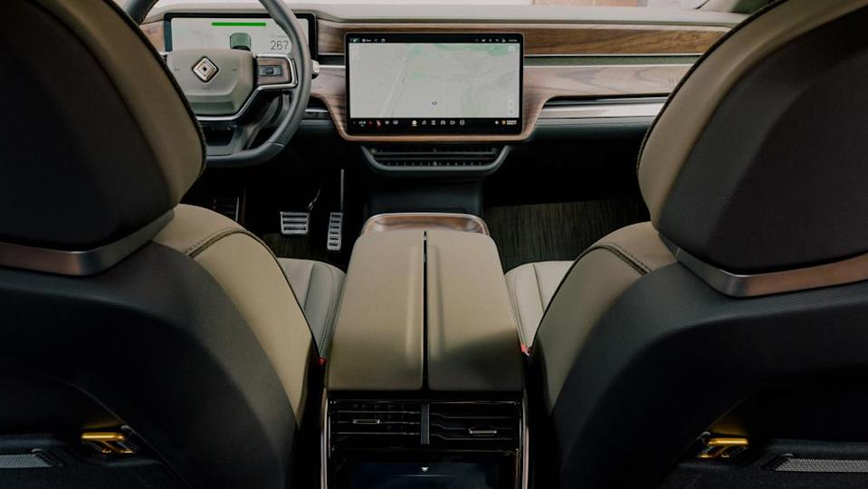 The large, horizontal screen serves as the command center for nearly all vehicle functions. - Credit: Photo by Elliot Ross, courtesy of Rivian Automotive LLC.