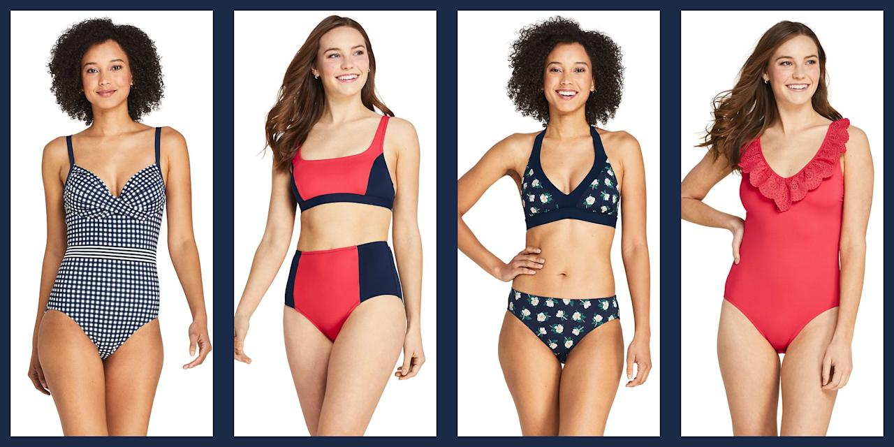 """<p>Spring is finally here, which means we've officially got permission to start dreaming of sunny days by the shore and lounging around the pool; cold rosé, stylish sunglasses, and, naturally, stunning swimsuits. Dressing up those daydreams just got prettier and easier, thanks to <a href=""""https://www.landsend.com/"""" target=""""_blank"""">Lands' End</a> and Reese Witherspoon's beloved Draper James line, who just launched a covetable new swimwear collaboration. </p><p>The collection features a range of beautiful styles from one pieces to tankinis to bikinis, all in poppy, summer-appropriate shades and patterns. Think: fruit punch reds with lacy ruffle details, on-trend colorblocking, Draper James's signature magnolia prints, and every prepster's favorite <a href=""""https://www.townandcountrymag.com/style/fashion-trends/g31214026/best-gingham-fashion/"""" target=""""_blank"""">warm weather pattern, gingham</a>. </p><p>To help get your fantasy vacation started, we've rounded up some of our very favorite styles from the collection below—take a look, then <a href=""""https://www.landsend.com/"""" target=""""_blank"""">shop the full collection at Lands' End</a>.  </p>"""
