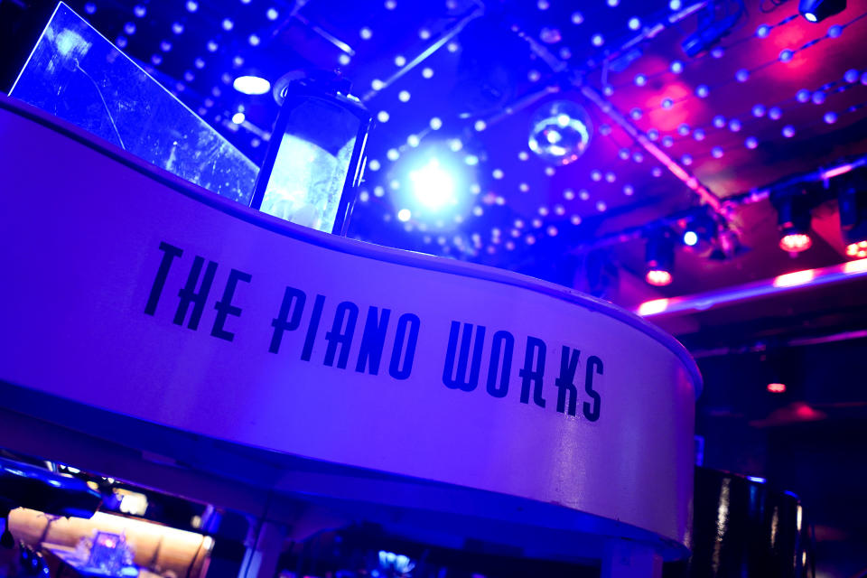 """The Piano Works club in Farringdon, London, Friday, July 16, 2021, ahead of its reopening as part of the relaxation of COVID-19 restrictions. Thousands of young people plan to dance the night away at """"Freedom Day"""" parties as the clock strikes midnight Monday, when almost all coronavirus restrictions in England are due to be scrapped. Nightclubs can open fully and are not required to use vaccine passports. (AP Photo/Alberto Pezzali)"""
