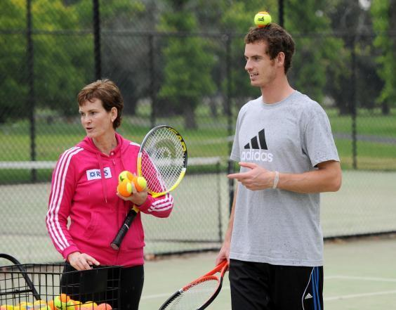 Murray and his mother, Judy Murray, coach young tennis players in Melbourne, 2011 (Getty Images)