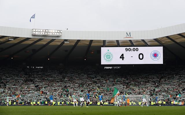 Soccer Football - Scottish Cup Semi Final - Celtic vs Rangers - Hampden Park, Glasgow, Britain - April 15, 2018 General view of the scoreboard during the match REUTERS/Russell Cheyne