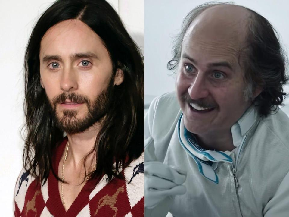 """On the left: Jared Leto at Tribeca Film Festival in 2019. On the right: Jared Leto as Paolo Gucci in """"House of Gucci."""""""