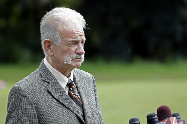 FILE - In this Wednesday, Sept. 8, 2010 file photo, Pastor Terry Jones of the Dove World Outreach Center speaks at a news conference in Gainesville, Fla. An Egyptian court has convicted in absentia Wednesday, Nov. 28, 2012 seven Egyptian Coptic Christians and Jones, Florida-based American pastor and sentenced them to death on charges linked to an anti-Islam film that had sparked riots in parts of the Muslim world.(AP Photo/John Raoux, File)