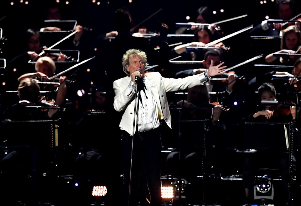 Rod Stewart on stage at the Brit Awards 2020 at the O2 Arena, London