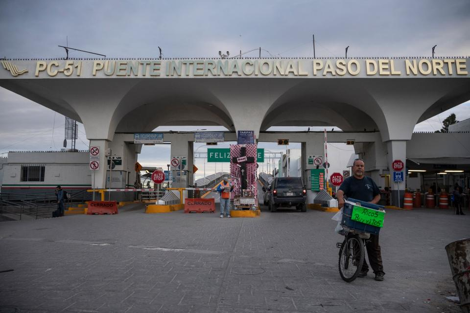 The entrance to the Paso del Norte International Bridge is quiet on a weekday that it is usually busy with border crossers on April 1, 2020 in Ciudad Juarez, Mexico. - Both Ciudad Juarez and El Paso, Texas, are on stay-at-home orders, but many people who live on the border are essential workers who live on one side and work on the other, and are still crossing. (Photo by Paul Ratje / AFP) (Photo by PAUL RATJE/AFP via Getty Images)