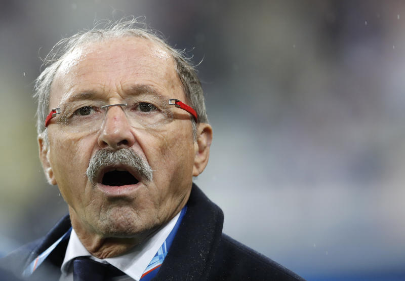 "FILE - In this Friday, Feb. 1, 2019 file photo, France head coach Jacques Brunel shouts out before the Six Nations rugby union international between France and Wales at the Stade de France in Saint Denis near Paris. An expression does the rounds each time France's struggling rugby team throws away yet another winning position. ""C'est dans la Tete"" (It's in the Mind), players past and present agree. Brunel continues to say France does not have a psychological weakness, despite his side losing nine out of 12 matches. (AP Photo/Christophe Ena, File)"