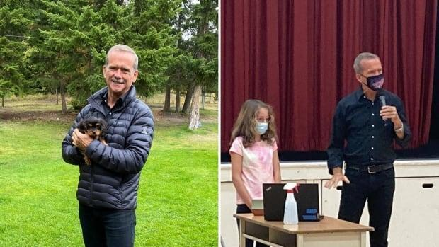 The town of Falkland, B.C., was visited by a bonafide star on Friday, Sept. 17, as retired astronaut Chris Hadfield dropped by to pick up his puppy Henry and visit Falkland Elementary school. (Submitted by Debbie Robinson and Shelly Cull - image credit)