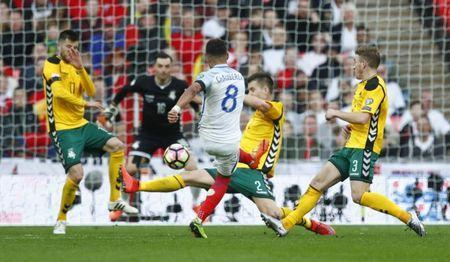 Britain Football Soccer - England v Lithuania - 2018 World Cup Qualifying European Zone - Group F - Wembley Stadium, London, England - 26/3/17 England's Alex Oxlade-Chamberlain shoots at goal Reuters / Eddie Keogh Livepic