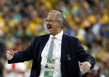 South Korea's coach Uli Stielike reacts during their Asian Cup final soccer match against Australia at the Stadium Australia in Sydney