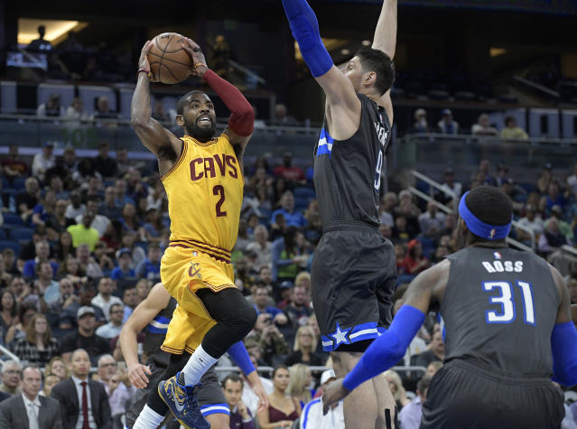 "<a class=""link rapid-noclick-resp"" href=""/nba/players/4840/"" data-ylk=""slk:Kyrie Irving"">Kyrie Irving</a> averaged 25.2 points for the Cavs last season. (AP Photo/Phelan M. Ebenhack)"