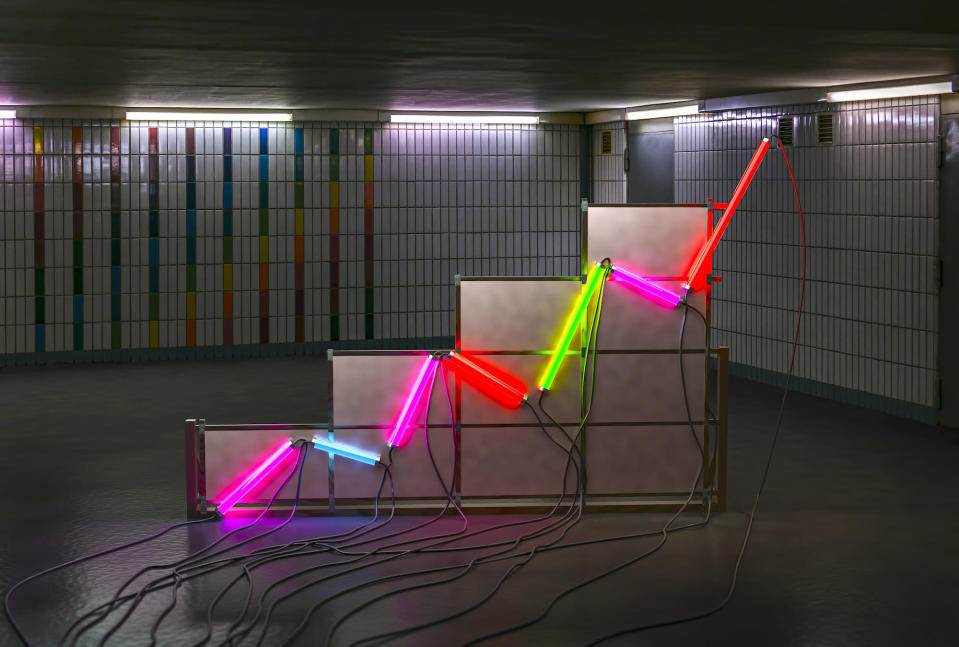 A neon tube graph in a communist style room