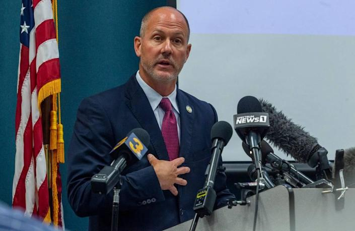 Pasquotank County District Attorney Andrew Womble answers questions from reporters after announcing he will not charge deputies in the April 21 fatal shooting of Andrew Brown Jr. during a press conference Tuesday, May 18, 2021 at the Pasquotank County Public Safety building in Elizabeth City.