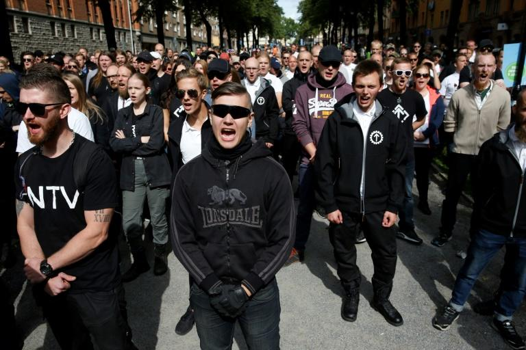 Around 300 neo-Nazi activists joined the Nordic Resistance Movement rally in central Stockholm