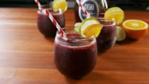 """<p>One last icy drink before it gets cold out!</p><p>Get the recipe from <a href=""""https://www.delish.com/cooking/recipe-ideas/a21648372/sangria-slushies-recipe/"""" rel=""""nofollow noopener"""" target=""""_blank"""" data-ylk=""""slk:Delish"""" class=""""link rapid-noclick-resp"""">Delish</a>. </p>"""