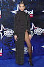 <p>Dua channelled an Angelina Jolie-worthy hip-high leg split in this high-neck Mugler dress at the 2020 Global Awards.</p>