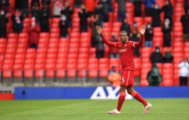 Georginio Wijnaldum acknowledges the fans after his farewell appearance