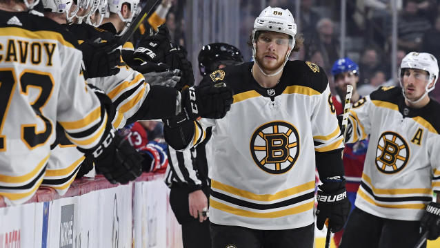 Boston Bruins forward David Pastrnak put on a goal-scoring clinic against the Montreal Canadiens. (Francois Lacasse/NHLI via Getty Images)