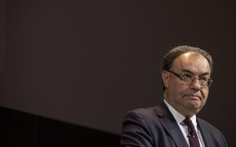 <span>Andrew Bailey spoke at Bloomberg's London headquarters this morning</span> <span>Credit: Jason Alden/Bloomberg </span>