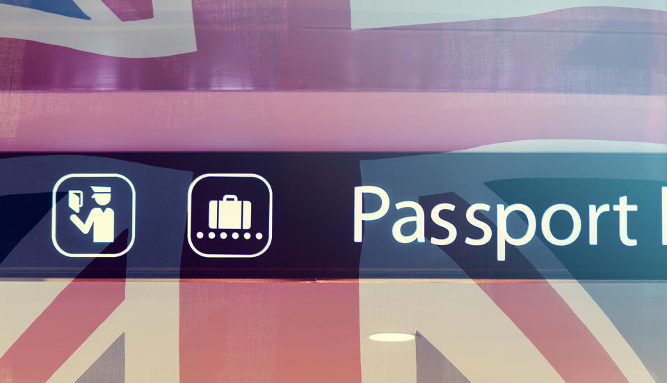 Sign of Passport Control and British Flag as Background, Concept Picture