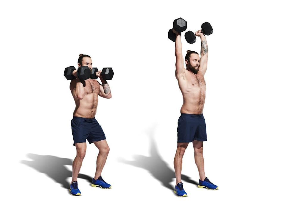 <p>Clean your dumbbells onto your shoulders, palms facing in. Take a breath and brace your core (A). Dip at the knees and use your legs to help (B) press your dumbbells overhead. Lower under control to the ground. After 10 reps, switch partners.</p>