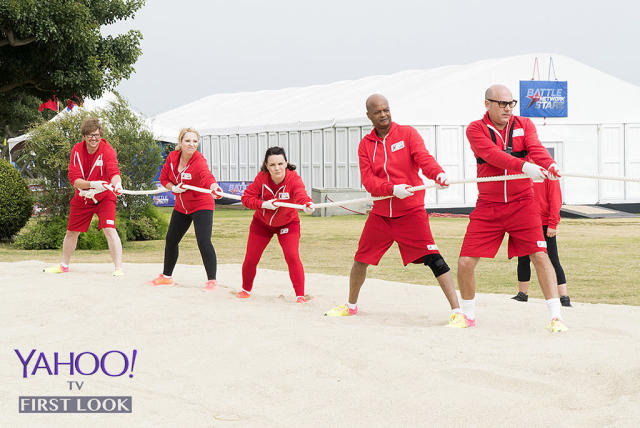 <p>Team TV Sitcoms put on their game faces for tug-of-war.<br><br>(Photo Credit: Kelsey McNeal/ABC) </p>