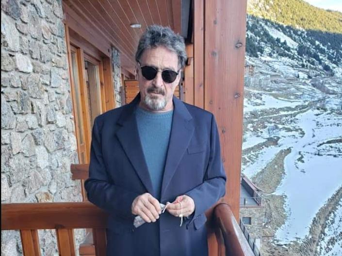 <p>McAfee pictured at an undisclosed location in Europe earlier this year</p>Janice McAfee