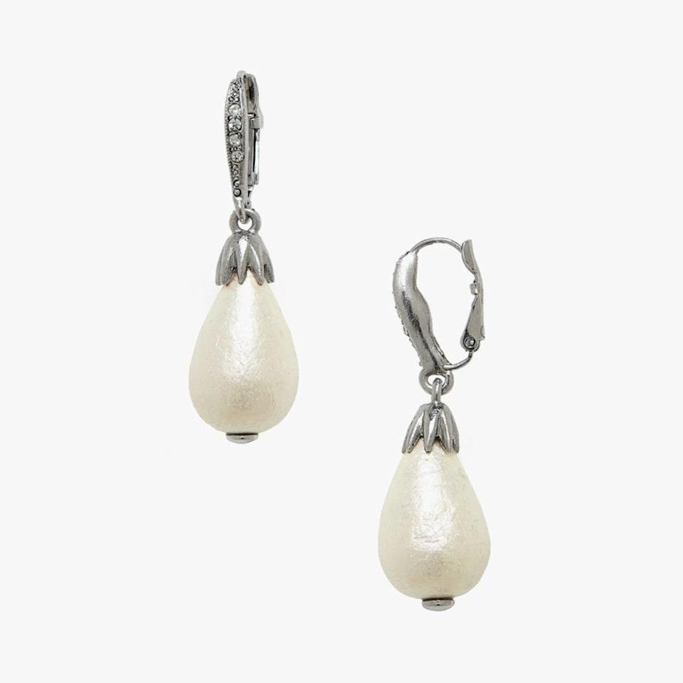 "$190, NORDSTROM. <a href=""https://www.nordstrom.com/s/oscar-de-la-renta-small-imitation-pearl-drop-earrings/5118473?origin=category-personalizedsort&breadcrumb=Home%2FWomen%2FJewelry&color=silver"" rel=""nofollow noopener"" target=""_blank"" data-ylk=""slk:Get it now!"" class=""link rapid-noclick-resp"">Get it now!</a>"