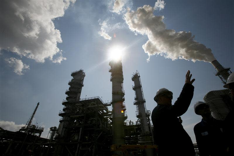 File of James Prokupek is seen silhouetted during tour of refinery in Norco, Louisiana