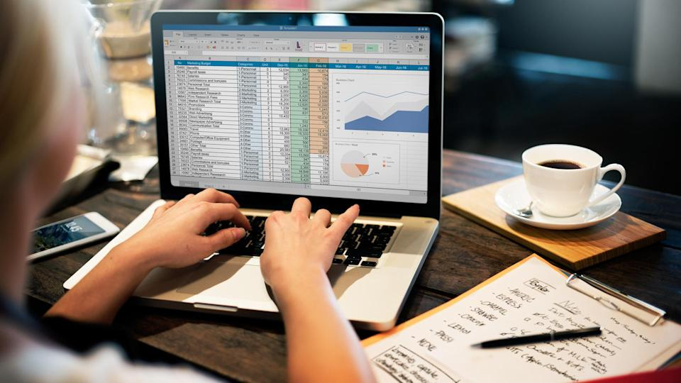 Financial Planning Accounting Report Spreadsheet Concept.