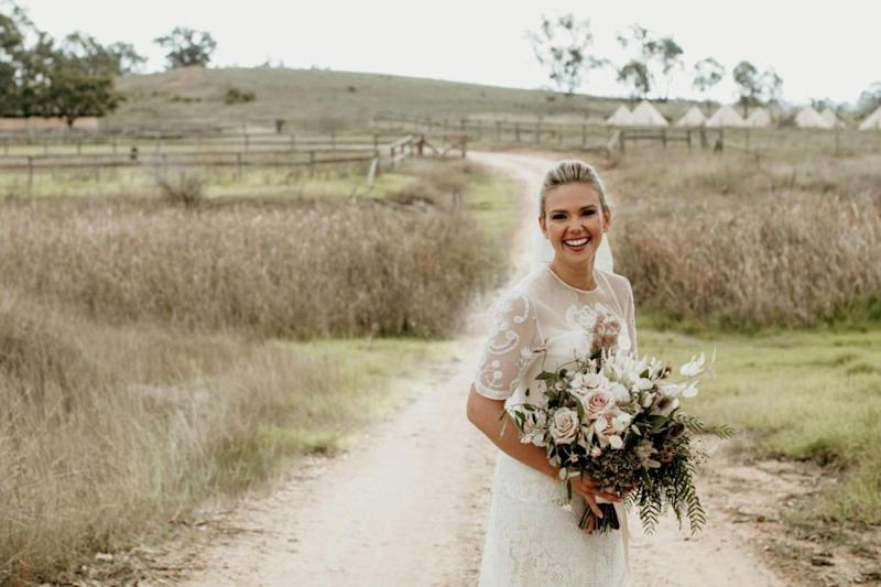 She looked incredible in a dress passed down from her grandmother. Photo: Edwina Robertson