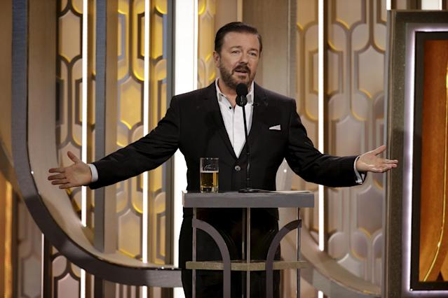 Ricky Gervais hosts the 73rd Golden Globe Awards in Beverly Hills, California, January 10, 2016. (Credit: Reuters/Paul Drinkwater/NBC Universal)
