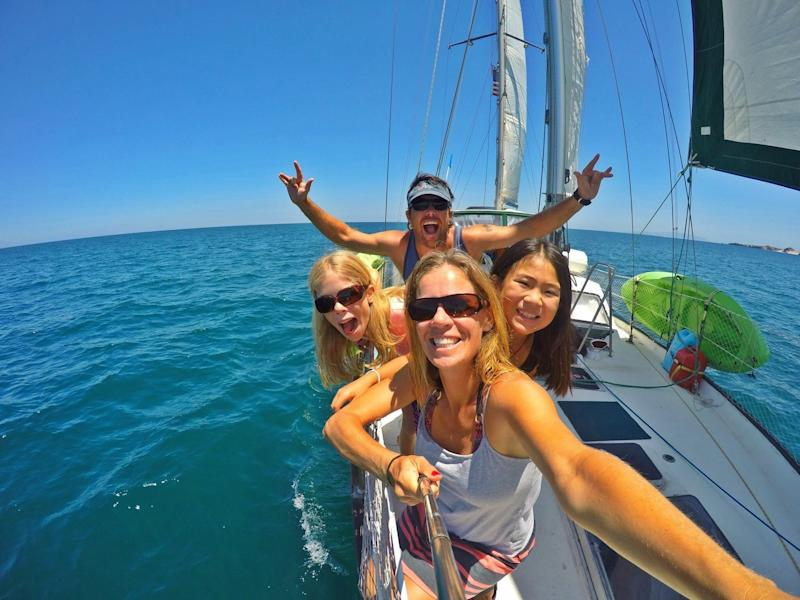 The Nance family is sailing around the world in a 45-foot boat.