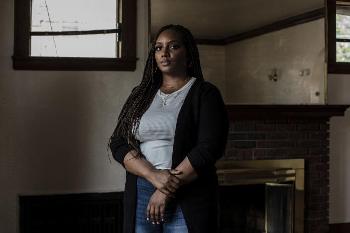 Shanetta Little at her home in Newark, N.J., on Sunday, July 11, 2021. Little was startled one day to find that the locks on her new home in Newark had been changed by a man who claimed he was the rightful owner. (Bryan Anselm/The New York Times)