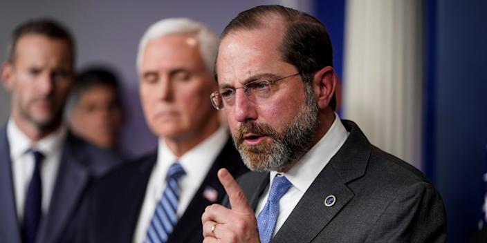 FILE PHOTO: U.S. Secretary of Health and Human Services Alex Azar speaks during a news briefing on the administration's response to the coronavirus at the White House in Washington, U.S., March 15, 2020. REUTERS/Joshua Roberts/File Photo