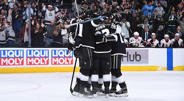 """The <a class=""""link rapid-noclick-resp"""" href=""""/nhl/teams/los/"""" data-ylk=""""slk:Los Angeles Kings"""">Los Angeles Kings</a> look unstoppable right now, but will it last? (Juan Ocampo/NHLI via Getty Images)"""
