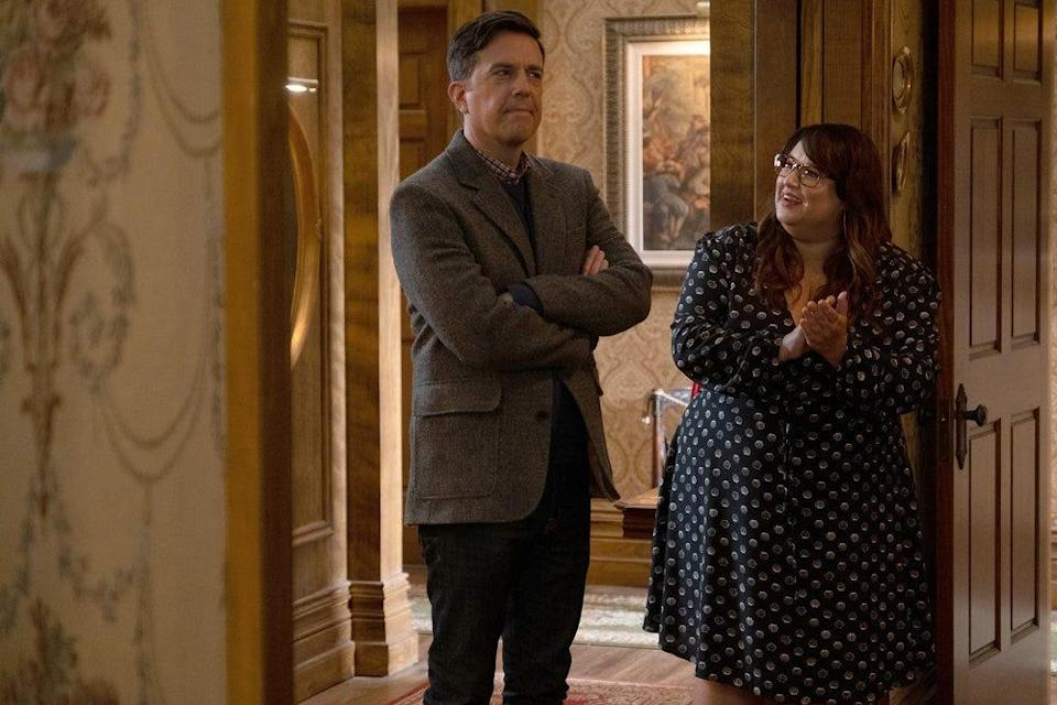 "Ed Helms plays Nathan Rutherford and Jana Schmieding plays Reagan Wells in Peacock's ""Rutherford Falls."""