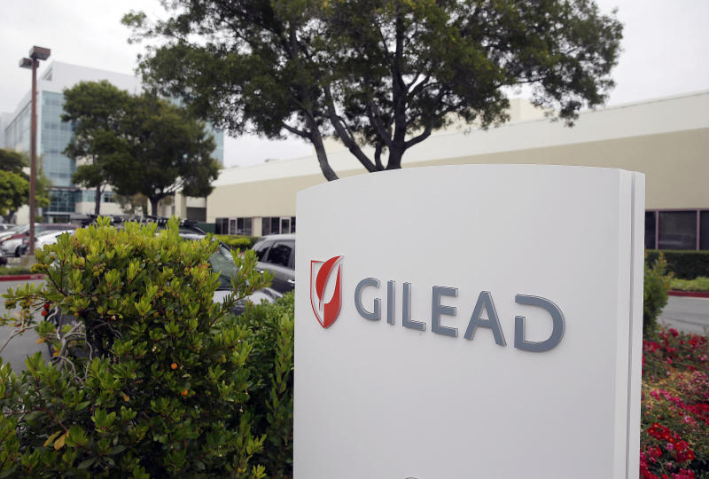 FILE - This July 9, 2015, file photo shows the headquarters of Gilead Sciences in Foster City, Calif. Federal health officials on Tuesday, June 28, 2016, approved the first pill to treat all major forms of hepatitis C, the latest in a series of drug approvals that have reshaped treatment of the liver-destroying virus. The Food and Drug Administration approved the combination pill, Epclusa, from Gilead Sciences for patients with and without liver damage. The new drug's broad indication could make it easier to use than five other hepatitis drugs recently approved by the FDA, which are each tailored to different viral strains or stages of liver disease. (AP Photo/Eric Risberg, File)