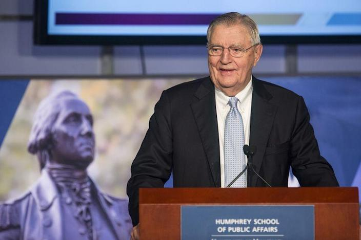 Former Vice President Walter Mondale speaks at an event held in his honor at The George Washington University in Washington