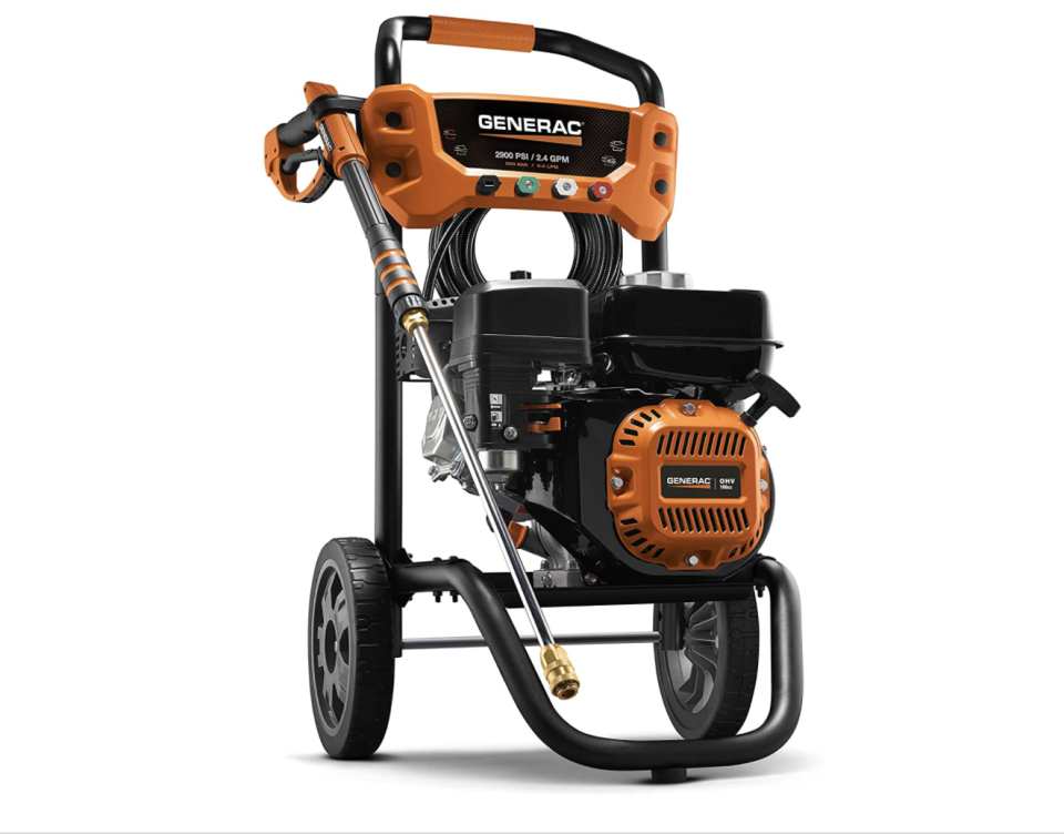 """<p><strong>Generac</strong></p><p>amazon.com</p><p><strong>$355.01</strong></p><p><a href=""""https://www.amazon.com/dp/B085K1H1JW?tag=syn-yahoo-20&ascsubtag=%5Bartid%7C10055.g.33460230%5Bsrc%7Cyahoo-us"""" rel=""""nofollow noopener"""" target=""""_blank"""" data-ylk=""""slk:Shop Now"""" class=""""link rapid-noclick-resp"""">Shop Now</a></p><p>If you're looking for serious cleaning power, like blasting oil stains off the driveway or stubborn tree sap off the patio, this pro-grade gas pressure washer from Generac is one to consider. Between its 2,900 PSI and 2.4 GPM, i<strong>t's among the most powerful machines we tested.</strong> Weighing 50 pounds, it takes some muscle to move around. Though the machine is balanced out with some nice ergonomics, including the cushioned grip and easy-to-pull trigger, which should cut down on hand cramps.</p>"""