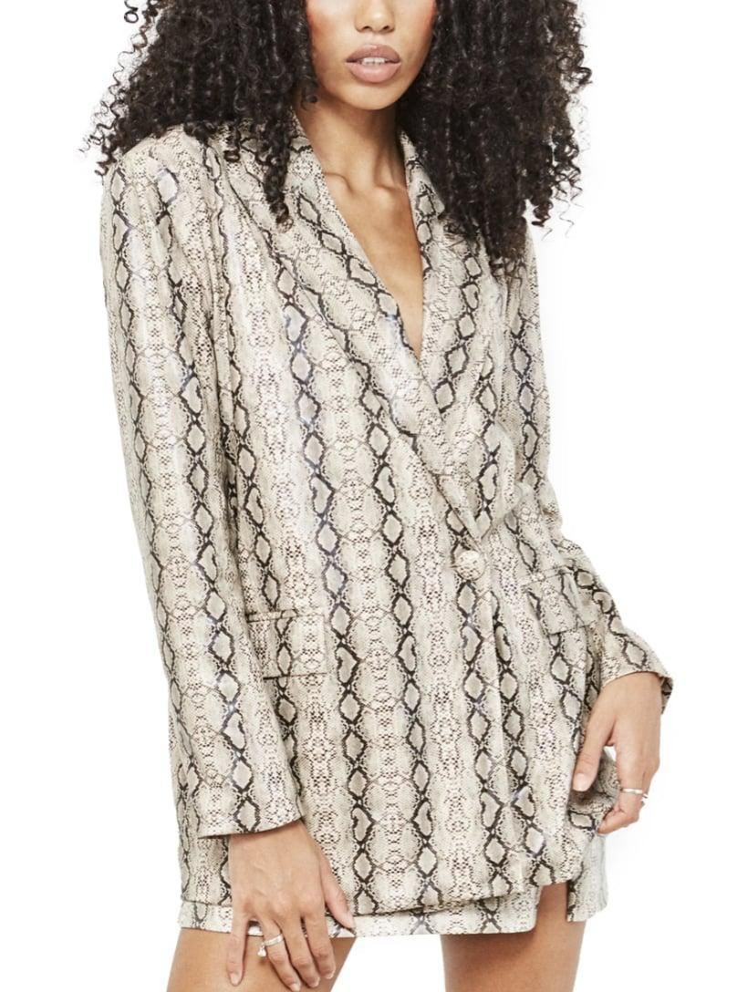 <p>This <span>4th &amp; Reckless Camille Snakeskin Print Faux Leather Blazer</span> ($90) will make you feel in charge.</p>