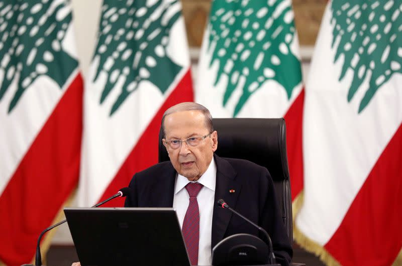 FILE PHOTO: Lebanon's President Michel Aoun delivers a speech at the presidential palace in Baabda