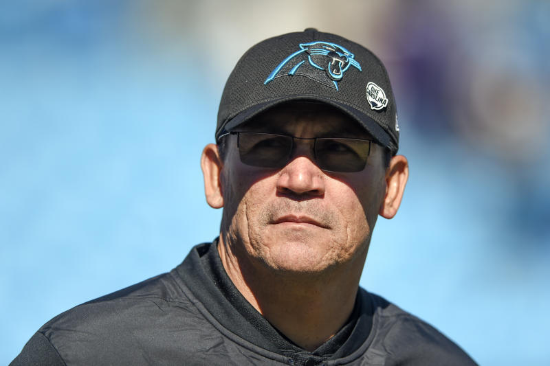 FILE - In this Oct. 28, 2018, file photo, Carolina Panthers head coach Ron Rivera walks across the field before an NFL football game against the Baltimore Ravens in Charlotte, N.C. The Washington Redskins have hired Rivera as their new coach on Wednesday, Jan. 1, 2020. (AP Photo/Mike McCarn, FIle)
