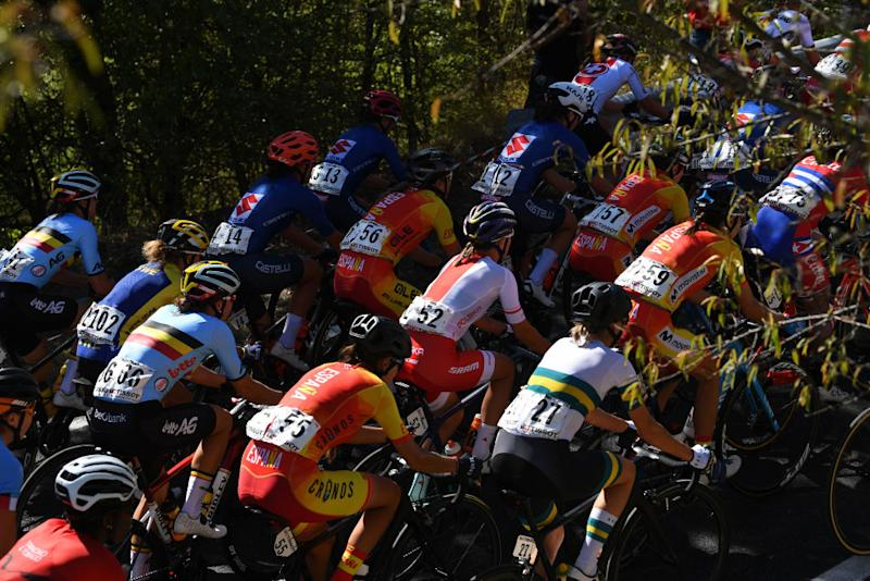 The women's peloton at the 2020 UCI Road World Championships