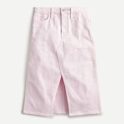 """<p><strong>J.Crew</strong></p><p>jcrew.com</p><p><strong>$78.99</strong></p><p><a href=""""https://go.redirectingat.com?id=74968X1596630&url=https%3A%2F%2Fwww.jcrew.com%2Fp%2FAK113&sref=https%3A%2F%2Fwww.marieclaire.com%2Ffashion%2Fstreet-style%2Fg32046163%2Fbest-denim-skirts%2F"""" rel=""""nofollow noopener"""" target=""""_blank"""" data-ylk=""""slk:Shop It"""" class=""""link rapid-noclick-resp"""">Shop It</a></p><p>So pretty in pink denim! This pastel midi skirt is an excellent addition to your wardrobe if you are bored of basic blue, black, and white denim. </p>"""
