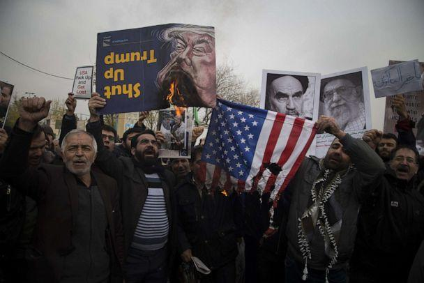 PHOTO: In this Jan. 17, 2020, file photo, regime supporters burn the US flag during a protest in Tehran. (Rouzbeh Fouladi/ZUMA Wire via Newscom, FILE)