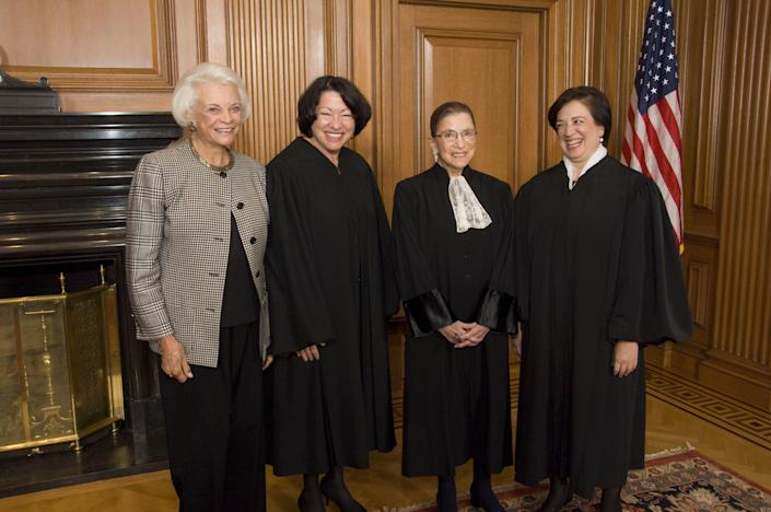 From left: Associate Justice Sandra Day O'Connor (retired), Associate Justice Sonia Sotomayor, Associate Justice Ruth Bader Ginsburg and Associate Justice Elena Kagan prior to Justice Kagan's investiture at the U.S. Supreme Court. (Photo: Rex/Shutterstock)