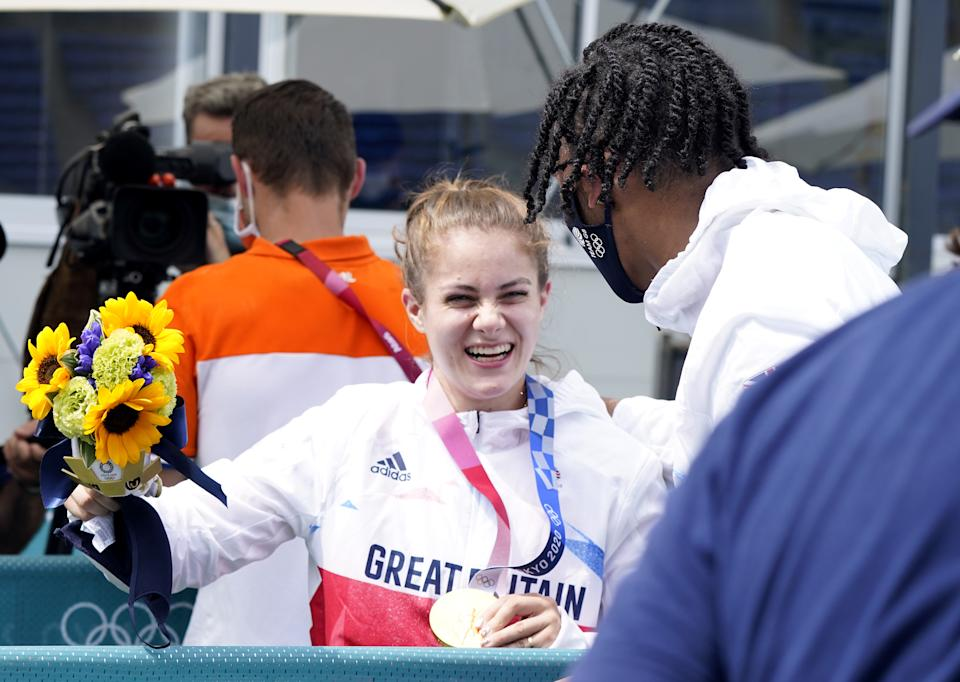 Shriever celebrated her gold medal with Kye Whyte, who won a silver medal on the same day. (Danny Lawson/PA Images via Getty Images)
