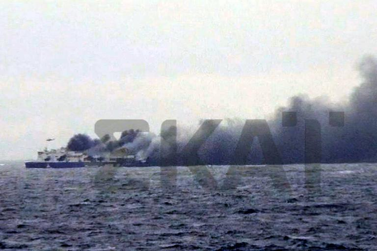 A photo grab from Greek television channel Skai shows burning ferry the Norman Atlantic on December 28, 2014